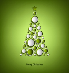 Christmas card with tree of green rings template vector