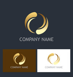circle round gold technology logo vector image
