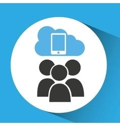 Cloud connection social media smartphone vector