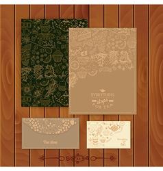 coffee and tea branding Design Set of floral cards vector image