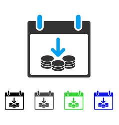 Coins income calendar day flat icon vector