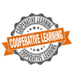 Cooperative learning stamp sign seal vector