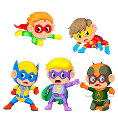 cute children uses the super heroes costume vector image