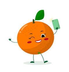 cute orange cartoon character with a smartphone vector image