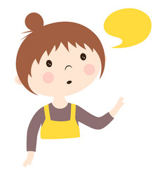 cute pretty girl with bubble speech isolated vector image