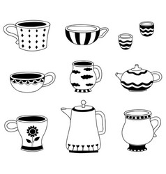 Doodle of cartoon cups for tea coffee on vector