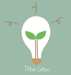 Ecology light bulb tree grow in a light bulb vector