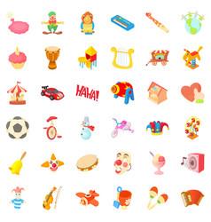 entertainment icons set cartoon style vector image