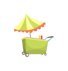 Fast food kiosk on wheels market stall vector