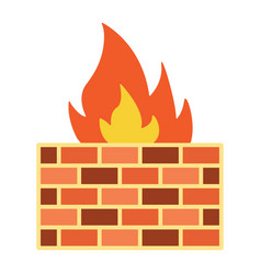 Firewall flat icon security and brick wall vector