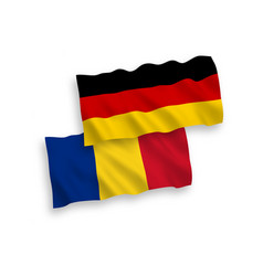 Flags romania and germany on a white background vector