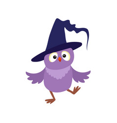 Flat owl dancing witch wizard pointed hat vector