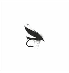 Fly-fishing on white background vector