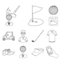 Golf and attributes outline icons in set vector