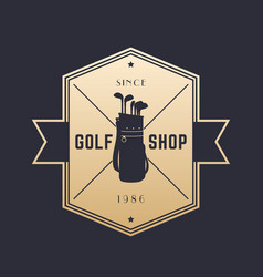 golf shop vintage emblem logo on dark vector image