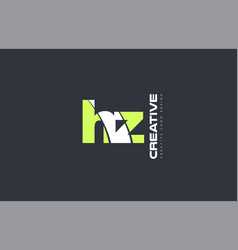 green letter hz h z combination logo icon company vector image