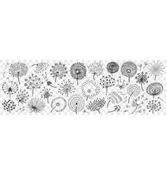 hand drawn dandelion doodle set vector image