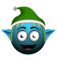 happy christmas elf emoji vector image