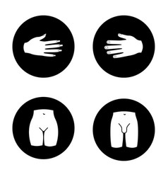 Human body parts glyph icons set vector