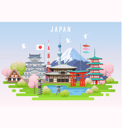 Japan spring travel infographic vector