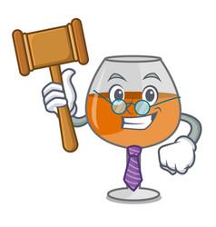 Judge cognac ballon glass mascot cartoon vector