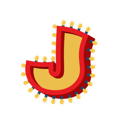 letter j lamp glowing font vintage light bulb vector image vector image