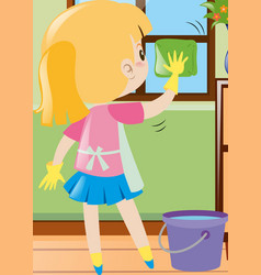 little girl cleaning window with cloth vector image