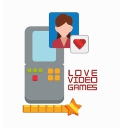 Love video game portable girl character vector