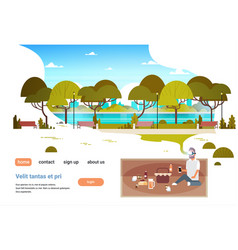 Man wear digital glasses having picnic in city vector