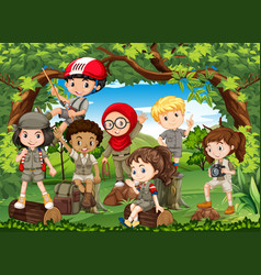 many children hiking in the forest vector image