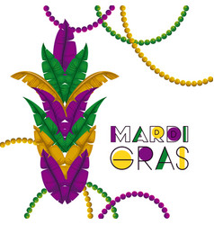 mardi gras colorful background with feathers vector image