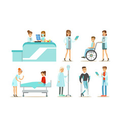medical staff examining and treating patients set vector image