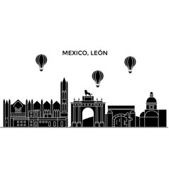 Mexico leon architecture urban skyline with vector