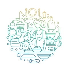 Mother and daughter at the kitchen - line vector