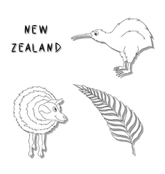 New Zealand symbols A set of black line cartoon vector