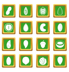 Nuts icons set green vector