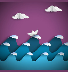 origami paper waves with clouds and ship vector image