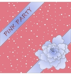 Peony ribbon with girly background vector