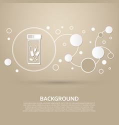 pills medication icon on a brown background with vector image