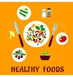 Plate with fresh copped vegetables vector image