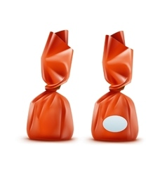 Realistic Chocolate Candy in Orange Wrapper vector