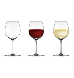 Realistic wineglass icon set - empty with vector