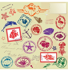 Sea and tropical elements - rubber stamps collecti vector
