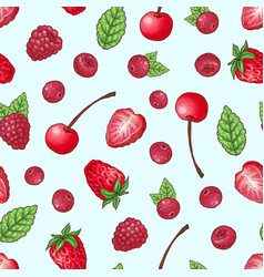 seamless pattern strawberry cherry raspberry hand vector image