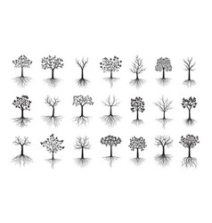 Set black trees with leaves outline vector