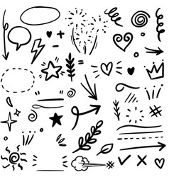 Set hand drawn design elements arrow heart vector