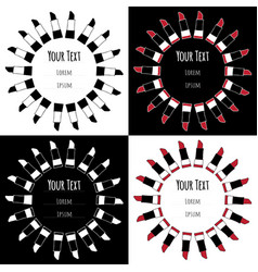 Set hand drawn labels icons with sketch lipsticks vector