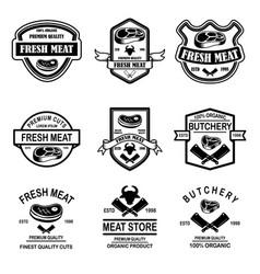 set meat store butchery emblems design element vector image