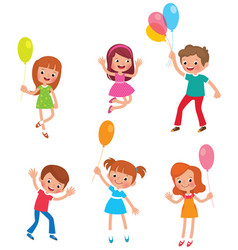 set of funny kids with balloons vector image