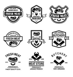 set of meat store butchery emblems design element vector image
